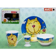 SET INFANTIL 4 PIEZAS CAT BLUE