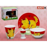 SET INFANTIL 4 PIEZAS DOG RED